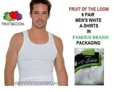 FRUIT OF THE LOOM  MEN'S 6 PACK  WHITE A-SHIRTS IN FAMOUS BRAND PACKING