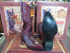 LOS ALTOS R-TOE BURGUNDY GENUINE LIZARD RING WESTERN COWBOY BOOT D WIDTH 600606