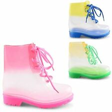 NEW GIRLS LACE UP FUNKY FLAT CLEAR FESTIVAL JELLY ANKLE WELLIES BOOTS SIZE 11-3