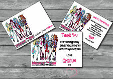Monster High Personalised Invite / Thanks You Card / Note 12 & envelopes