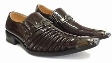 MEN SILVANIO SLIP-ON LOAFERS & SHOES FORMAL/DRESS METAL TOE FASHIONABLE BROWN