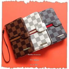 For Apple iPhone 5 5s Luxury Deluxe Checker Wallet Flip Case/Cover + Gift #LV3GG