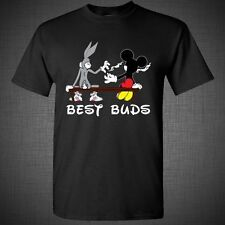 BEST BUDS Weed T-Shirt Tank Top Funny Bugs Bunny Mickey Mouse Blunt smoking
