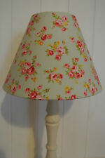 Shabby French Cottage Chic vintage rose fabric covered lampshade duck egg blue