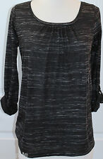 Ann Taylor~ Women Petite Black Striped 3/4 Sleeve Blouse $45 Size SP,MP~NWT