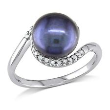 Sterling Silver 9-9.5 mm Black Freshwater Pearl 1/10 Ct Diamond Ring H-I I2-I3