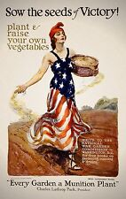 Vintage Poster WWI Poster Sow the seeds of victory Plant  raise your own vegetab