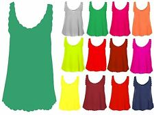 NEW WOMENS SCALLOP EDGE JERSEY VEST TOPS LADIES SLEEVELESS STRAPPY TOP UK 16-26