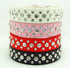 Bling Dog Cat Rhinestone Collar Crystal Diamond Pet Puppy Leather Collar S-XL