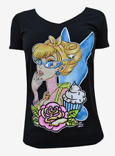 Women's Tattooed Fairy V Neck Tee Miss Cherry Martini Retro Rockabilly Cupcake