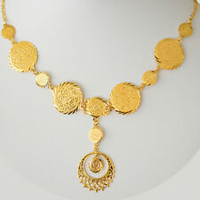 Arabic Double Coin Pendant Necklace Sizes 17 - 22 inches 24k Gold Plated - DJ