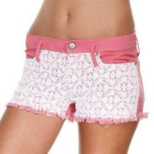 Roxy Doily Dukes Denim Cut Off Shorts Womens Pink White Lace Overlay New NWT