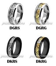 Black Tungsten Carbide Celtic Dragon Knot Ring Men Jewelry Wedding Band Gold NEW