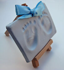 Soft blue air drying clay dough & display easels,handprint imprint kit baby boy