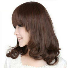 Women Bangs Layer Wave BOB Healthy Natural Hair Cosplay Costume Sweet Wig Cap