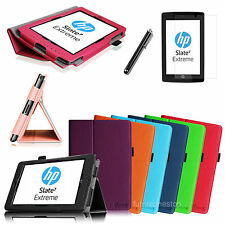 For HP Slate 7 Extreme (Model 4400) Folio Leather Stand Case Cover+ Film +Stylus