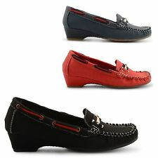 NEW LADIES STYLISH MOCCASIN LOW HEEL DECK BOAT LOAFER SUMMERY SHOES UK SIZE 3-8