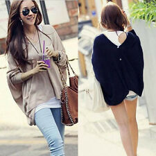 Women Fashion Oversize Batwing Ponchos Knitwear Sweater Pullover Tops 2 Colors