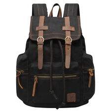 VNS Classic Rucksack Men's Backpacks Canvas Leather Leisure Book Bag Outdoor Bag