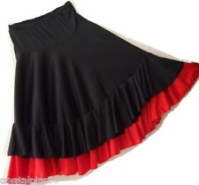 New Spanish Flamenco Dance Skirt Double Frill Black & Red Sizes S, M, L, XL, XXL