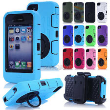 Dual Layers Heavy Duty Rugged Combo Ring Pull-tab Stand Case For iPhone 4 4S
