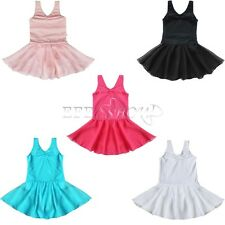 New Girls Gymnastics Dance Dress Kids SIZE 2-14 Ballet Tutu Leotard Shiny Skirt