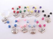 GLASS PEARL Wedding WINE GLASS Charms,favours,table,gifts,bride,groom,decoration