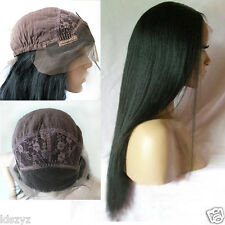 Lace Front Wig Yaki Straight 18 inch Indian Remy 100% Human Hair Wigs