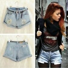 New Fashion Women Vintage Denim High Waist Light Blue Jean Shorts HOT Pants Hot