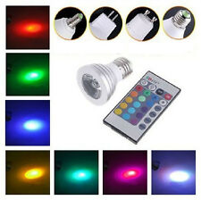 3W E27 E14 GU10 RGB Foco LED Bombilla Lámpara Color Regulable Control Remoto