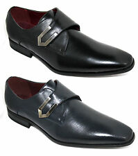 Mens Black Navy Blue Shoes Designer Inspired Slip On Shoes With Stylish Buckle