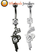 316L Surgical Steel Gem Gun Belly Button Navel Bar Ring Body Piercing Jewellery