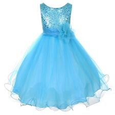 Sequin Flower Girl Dress 2-14 Birthday Pageant Holiday Graduation USA Aqua Blue