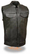 Mens Buffalo Leather Biker Vest Black Sleeveless Motorcycle Jacket Dual Pockets