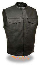 Mens Snap Collar Concealed Snap Club Motorcycle Vest Dual Gun Pockets