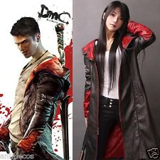 Devil May Cry 5 Dante Pleather Coat Jacket Cosplay Costume *FREE Vest* Any Sizes