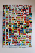 CHILDREN'S EDUCATIONAL POSTERS. ALPHABET, TIMES TABLE, MAP & FLAGS OF THE WORLD.