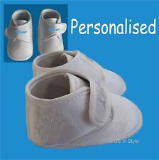 PERSONALISED BABY BOYS WHITE SATIN CHRISTENING SHOES 0-3/3-6/6-12 M WITH LACES