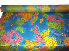 "GLOBE World Map Cotton Fabric Material ♥53.5""(136 cm) wide ♥ by FQ or metre"