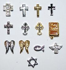 Floating Charms Religion Cross Memory Lockets Living Love Faith Christian Jewish
