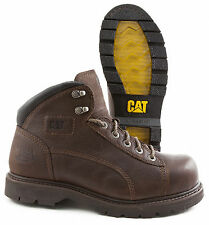 CAT (CATERPILLAR) LANDER DARK BROWN STEEL TOE SLIP RESISTANT WORK BOOTS