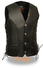 Mens Braided Side Lace Vest with Buffalo Nickel Snaps & Gun Pockets