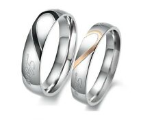 Couple Love Heart Stainless Steel Engagement Match Wedding Rings Gift Half Size
