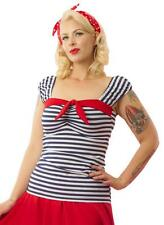 Women's Pinky Pinups Striped Puff Top Blue/White Retro Vintage Rockabilly Pinup
