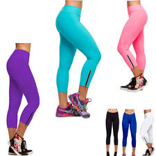 Hot Women YOGA Tights Running Pant High Waist Cropped Leggings Girls Gym Pants