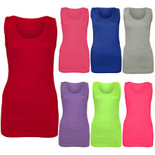 NEW LADIES WOMENS PLAIN SUMMER STRETCHY RIBBED CASUAL TOP T SHIRT MUSCLE VEST
