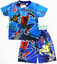 New The Amazing Spiderman Outfit Boys Kids Clothes Toys T-Shirt + Shorts Age 4-9