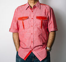 New Men's Knockout Red S/S Casual Shirt Double Pockets w/ PU Trim Style# 498