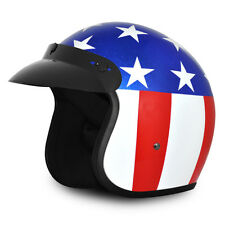 Easy Rider 3/4 Motorcycle Helmet Captain America DOT USA Flag Biker Open M L XL