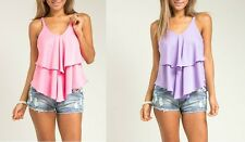 Women's Junior's Tiered Casual Flowy Top Shirt Pastel